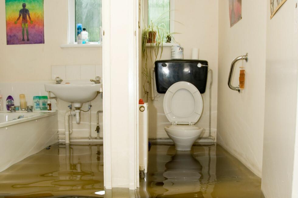 VÅTT: Våtrom skal tåle litt vann, men ser det så ille ut hjemme hos deg, er det bare å tilkalle fagfolk. Foto: ALL OVER PRESS