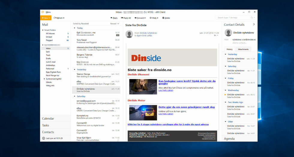 LETT GJENKJENNELIG: Slik ser eM Client 7 ut med standard innstillinger. Likheten med Outlook er slående.