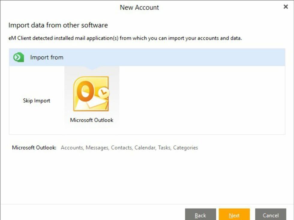 Når du starter eM Client første gangen, vil du få spørsmål om du vil importere e-post fra andre e-postprogrammer på PC-en din.