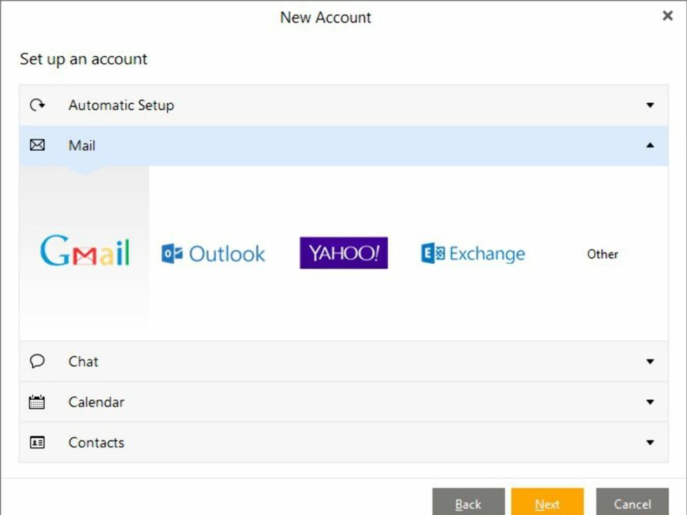 I tillegg til Exchange, har eM Client også støtte for de fleste andre aktuelle tjenestene.