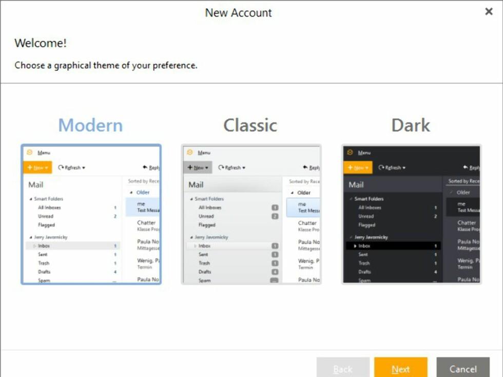 Du kan velge mellom flere forskjellige utseender på eM client.