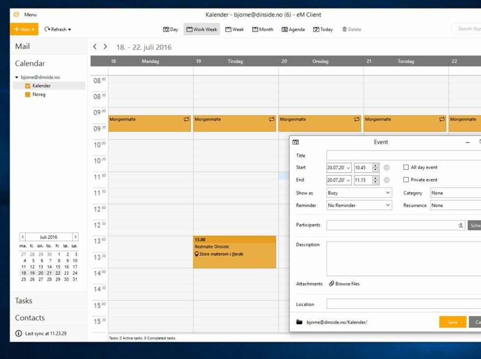 Kalenderen fungerer omtrent som i Outlook. Du kan ha flere kalendere, blant annet kalendere du abonnerer på fra internett.