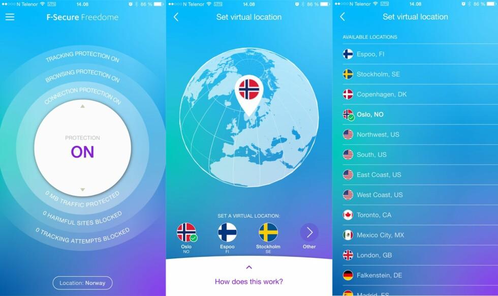 Skjermbilder fra appen for iPhone.