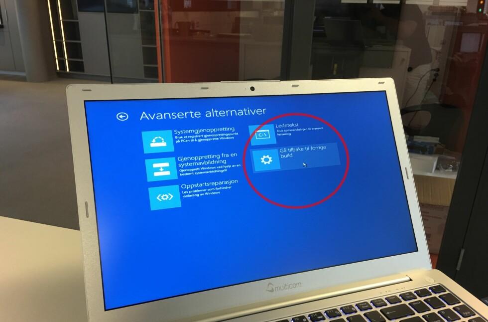 FJERNER OPPDATERINGER SOM GÅR GALT: Windows 10 installasjonsmediet inneholder en rekke verktøy som lar deg rette opp ting som har gått feil. Foto: BJØRN EIRIK LOFTÅS