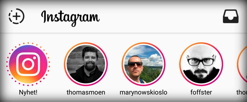 NYTT: Folk du følger på Instagram får farget ring rundt seg dersom de har postet nytt innhold til sin historie. Knappen øverst til venstre lar deg lage din egen. Foto: PÅL JOAKIM OLSEN