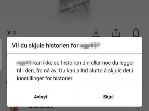 SKJUL: Dersom det er enkelte Instagram-brukere du vil holde unna din historie, kan du velge å skjule den for dem. Foto: PÅL JOAKIM OLSEN