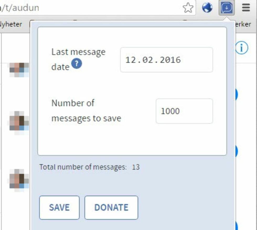 VELG ANTALL: Du kan enten velge antall meldinger eller meldinger frem til en bestemt dato.