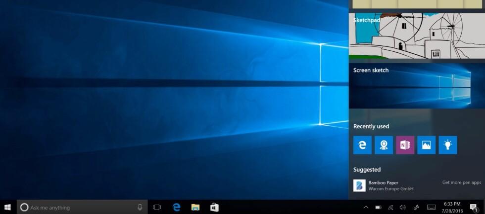 MYE NYTT: Ny startmeny, bedre sikkerhet og nye apper. Windows 10 har fått sin første, store oppdatering. Foto: MICROSOFT