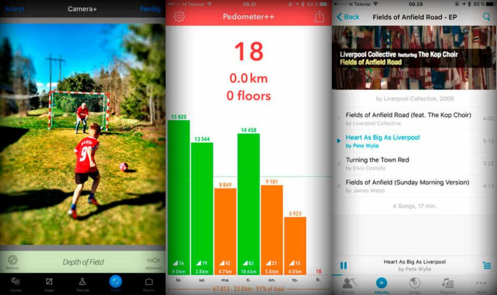 TRE FINE: Camera+ er fortsatt vår favoritt-fotoapp for iOS. Pedometer++ gir en grei oversikt over hvor mye du har gått de siste dagene, mens minimalistiske Cesium er en kjekk og enkel musikkapp for deg som fortsatt sverger til egne musikkfiler. Foto: KIRSTI ØSTVANG