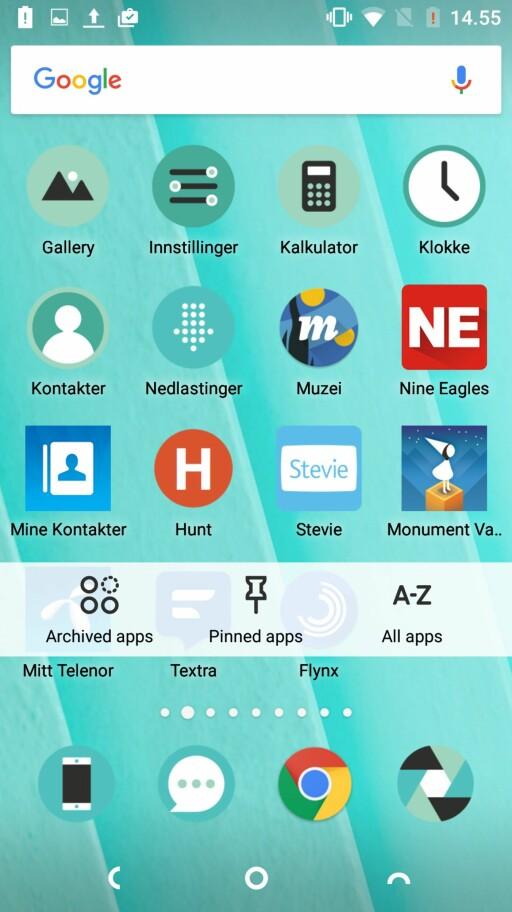 STYR SELV: Dersom du vil unngå at en app slettes fra telefonen, kan du «pinne» den. Foto: PÅL JOAKIM OLSEN
