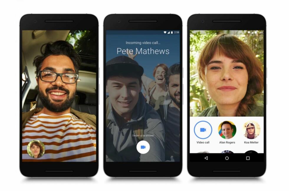 EN SLAGS FACETIME: Men Duo kan brukes både av iOS- og Android-brukere. Foto: GOOGLE
