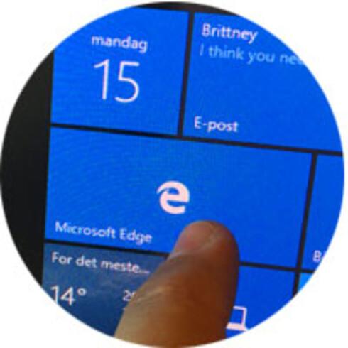 BERØRING: Windows 10 er optimalisert for både berøringsskjermer og for musestyring. Foto: Bjørn Eirik Loftås