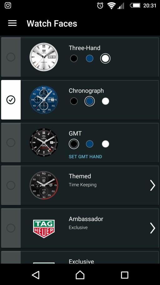 VELG URSKIVE: Som med andre Android Wear-klokker kan du selv bestemme utseendet. Men her er det TAGs «DNA»som gjelder. Foto: TIDSSONEN.NO