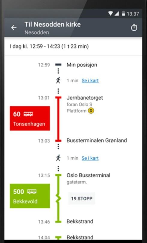 REIS RUNDT: Kollektiv-appen i byen man bor i er kjekk å ha når man skal komme seg rundt.