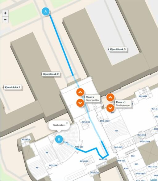 FINN ROMMET: Mazemap har kartlagt flere utdanningsinstitusjoner innendørs slik at det blir lettere å finne frem til riktig auditorium.
