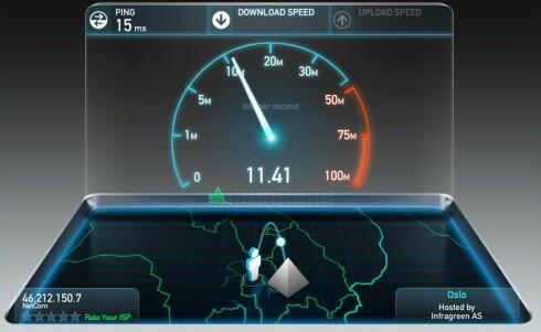 <strong><strong>POPULÆR:</strong></strong> Ooklas speedtest.net er en mye brukt tjeneste for å måle hvor rask nettlinje man har. Foto: PÅL JOAKIM OLSEN