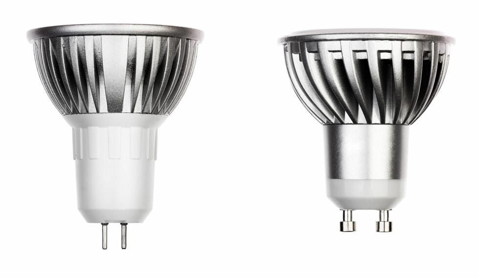 SPOTLAMPER: Den aller vanligste sokkelen til spotlamper er GU10 (til høyre). GU 5,3 brukes også i enkelte lamper. Foto: SHUTTERSTOCK/NTB SCANPIX