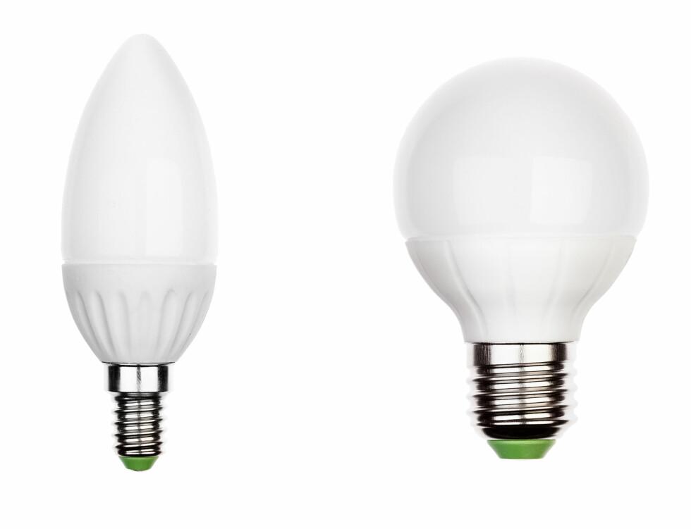 VANLIGST: LED-pærer ser i dag ut som de gode, gammeldagse lyspærene. E14 til vesntre, E27 til høyre. Foto: SHUTTERSTOCK/NTB SCANPIX