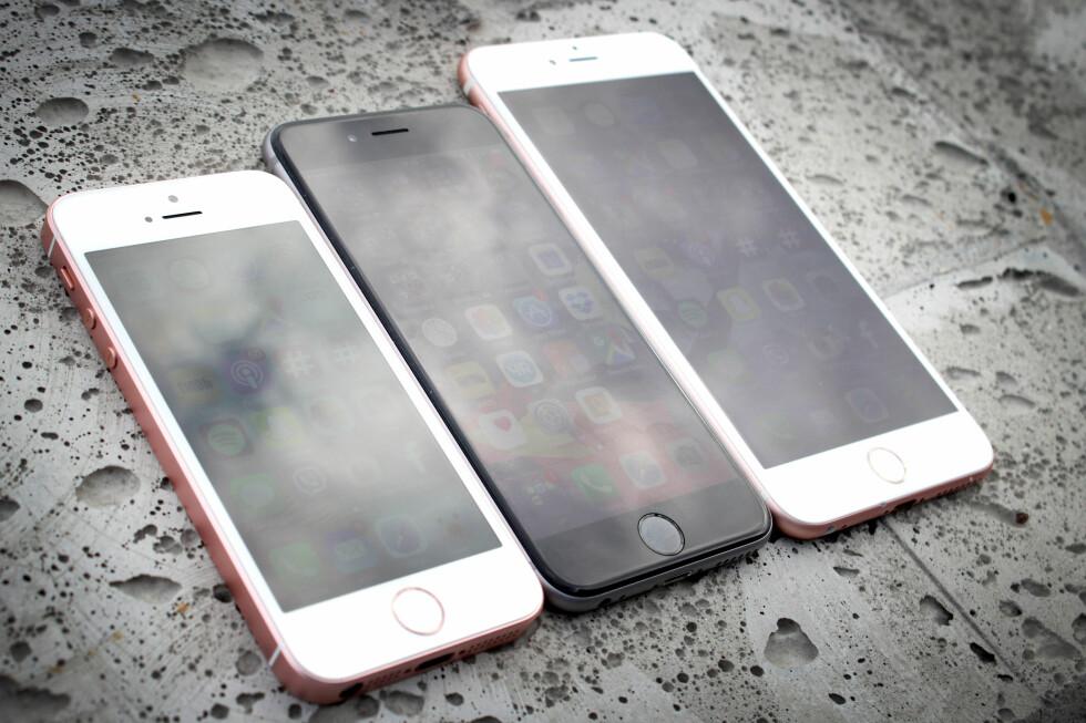 <strong><b>STOR SKJERM ER OGSÅ BRA:</strong></b> Du kan være mer produktiv på en av de større iPhonene. Foto: OLE PETTER BAUGERØD STOKKE