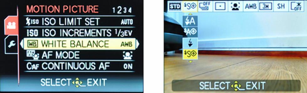 Hovedmeny og hurtigmeny. Merk at LX5 gir deg en god del innstillinger i forhold til videoopptak, noe som ikke er så vanlig. Foto: Pål Joakim Olsen