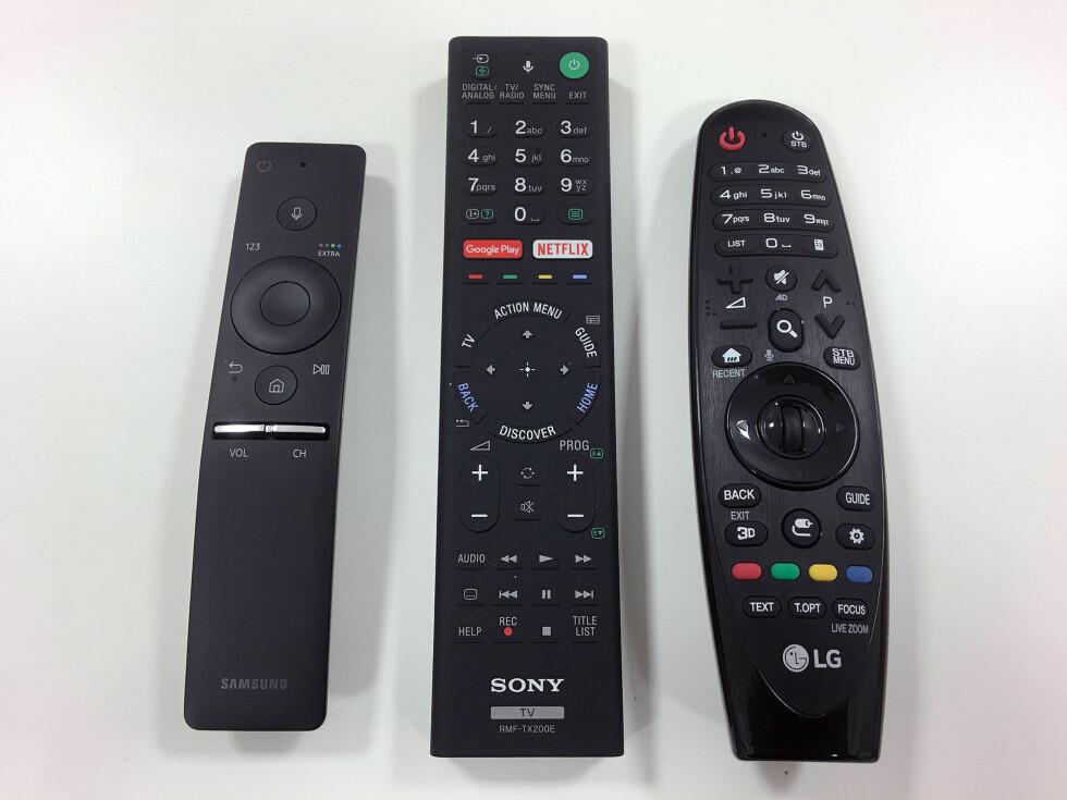 ULIKT: Fra venstre: Samsung, Sony og LG. Klikk her for å se bildet i stor størrelse. (Åpner i eget vindu) Foto: BJØRN EIRIK LOFTÅS