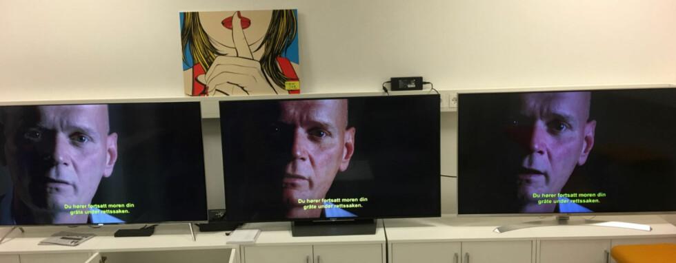 STANDARD: Alle de tre TV-ene med standardinnstillingene. Fargene vises ikke helt korrekt på dette bildet, men du ser stor forskjell i lys og kontrast. Foto: Sony Bravia KD-55XD8505