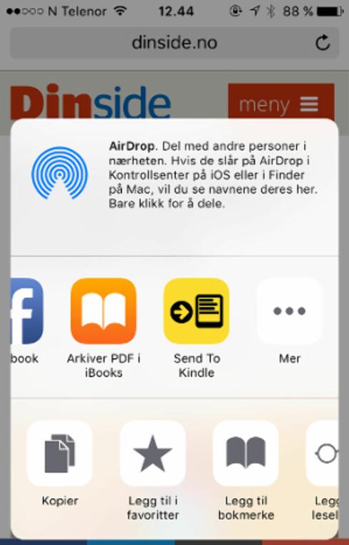 PÅ IPHONE: For 44 kroner får du muligheten til å sende tekst til Kindle like elegant som fra en Android-telefon. Foto: TORE NESET