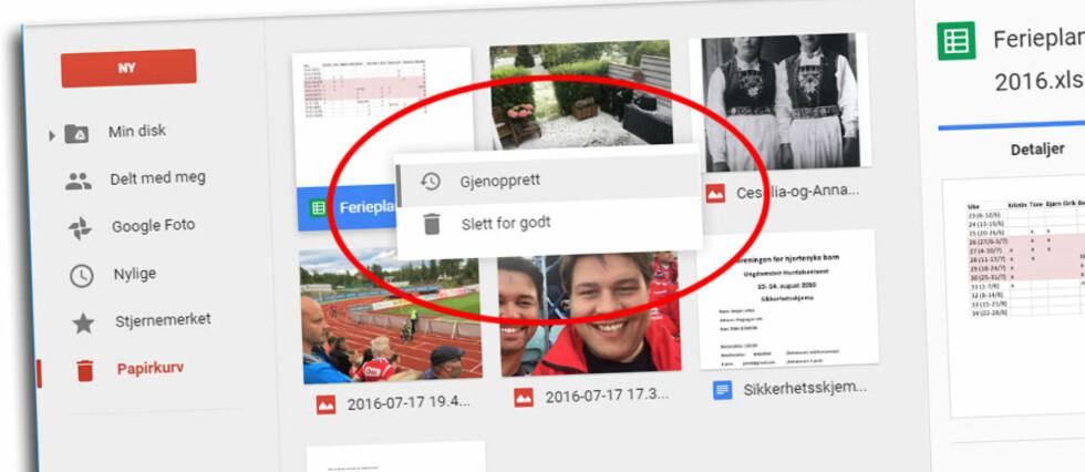 EKSTRA ANGREFRIST: På Google Drive og de andre populære nettlagringstjenestene, kan du gjenopprette slettede filer i 30 dager. Du kan også gå tilbake til tidligere versjoner av filer du har redigert.