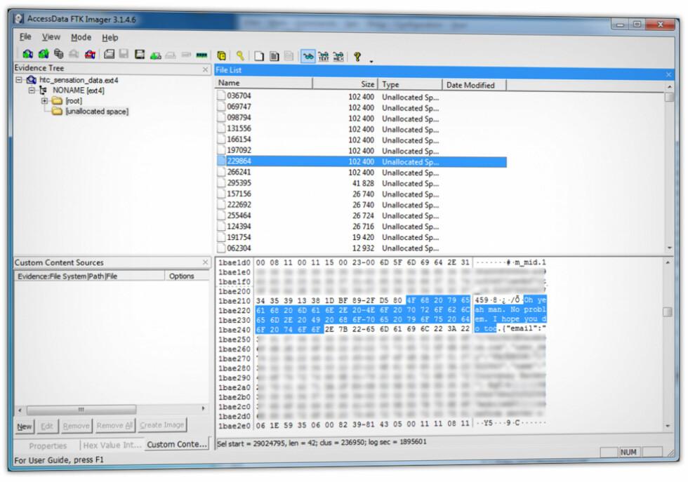 KJØPTE MOBILER, FANT DATA: Blant annet sikkerhetsselskapet Avast har vist hvordan man kan kjøpe gamle mobiler og gjenopprette data på dem, til tross for at de har blitt nullstilt. I denne skjermdumpen ser du hvordan gamle meldinger dukker opp. Foto: AVAST