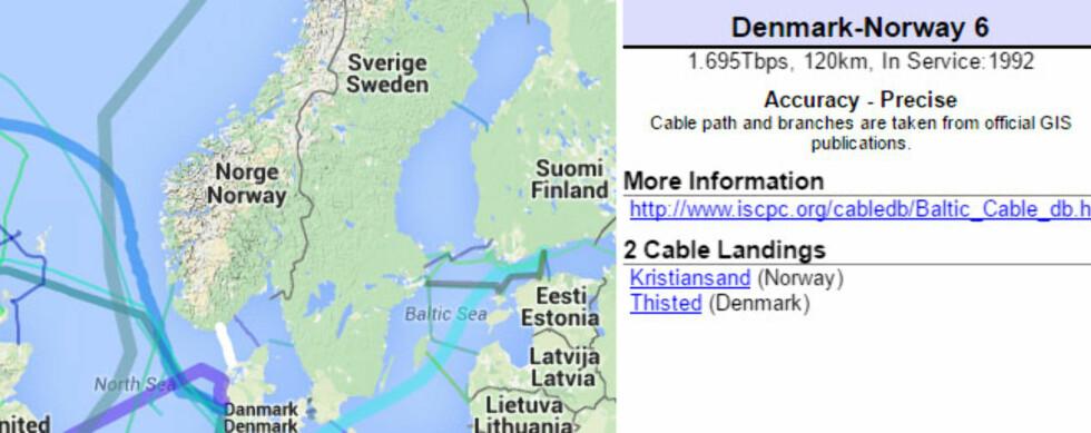 TILÅRSKOMMEN: Ifølge kartet har en kabel mellom Kristiansand og Thisted i Danmark overført data siden 1992. Foto: Cablemap.info