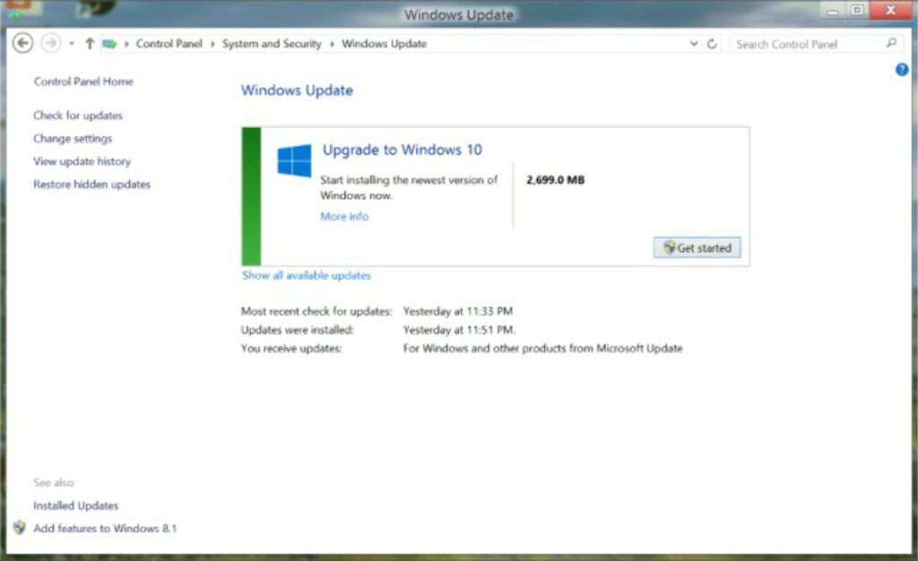 PÅ WINDOWS UPDATE: Du kan oppgradere direkte fra Windows Update på Kontrollpanelet.  Foto: MICROSOFT