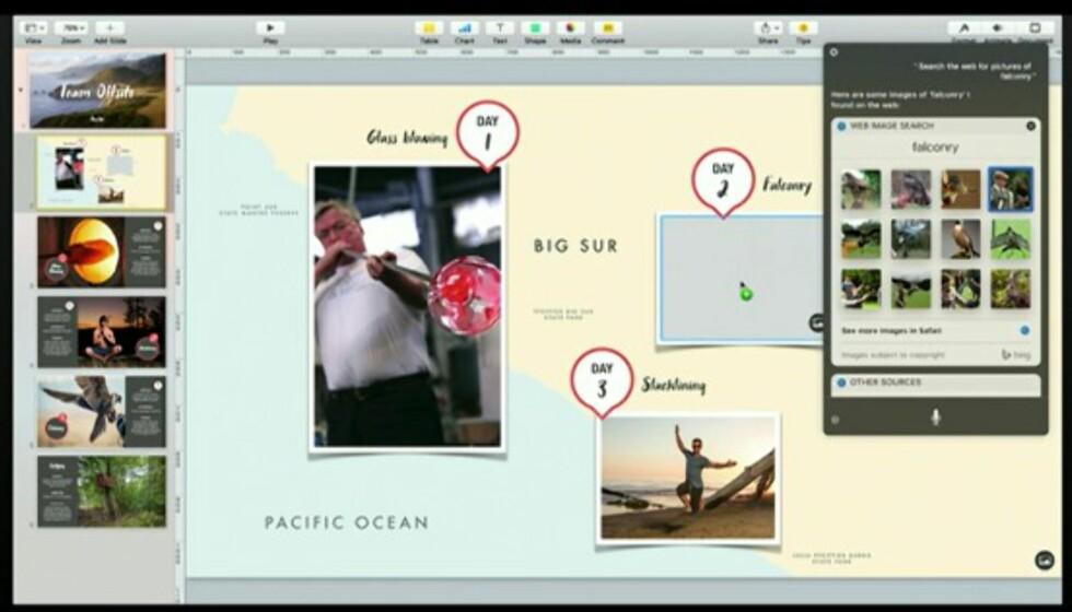SIRI-SØK PÅ MAC: Siri blir omsider tilgjengelig også på Mac-en. Her demonstreres hvordan resultater fra et bildesøk kan dra og slippes rett inn i en presentasjon. Foto: APPLE