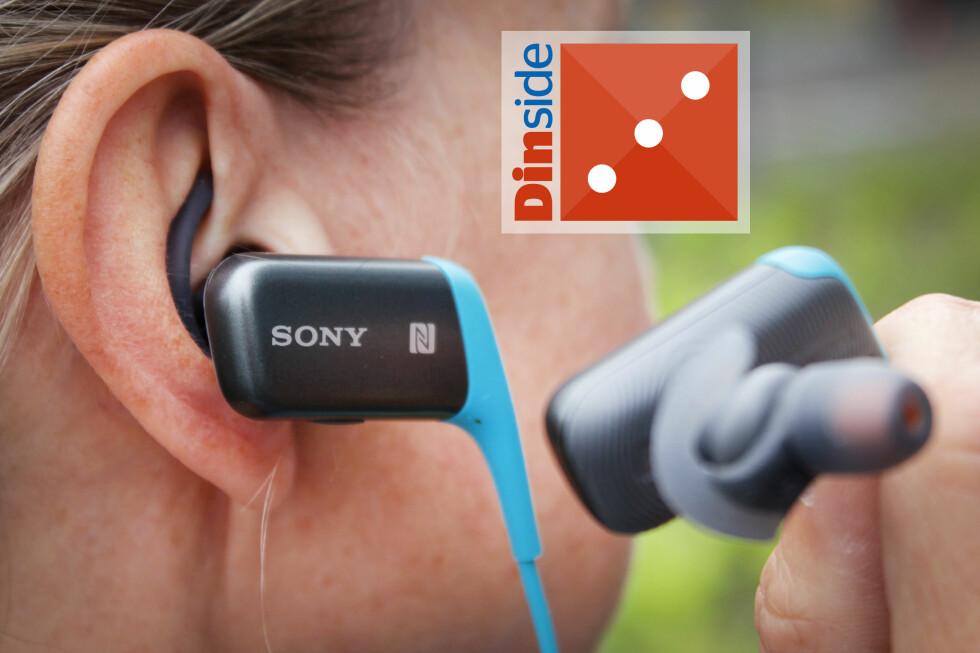 SONY PÅ STYLTER: Sportsøreproppene fra Sony stikker langt utenfor ørene. Du kamn bare glemme å løpe med dem med lue vinterstid. Foto: OLE PETTER BAUGERØD STOKKEOLE PETTER BAUGERØD STOKKE