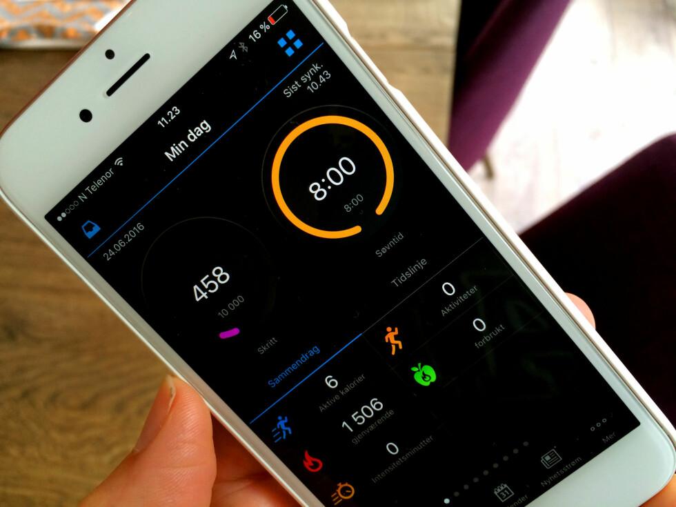 OVERSIKT: Appen kan gi mye informasjon. Dette er basisinformasjonen. Men det er mange andre muligheter. Foto: KRISTIN SØRDAL