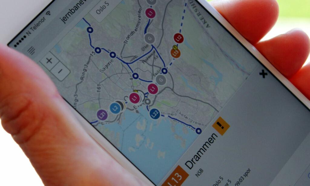 image: Er toget i rute? Nå kan du se dem på togkart
