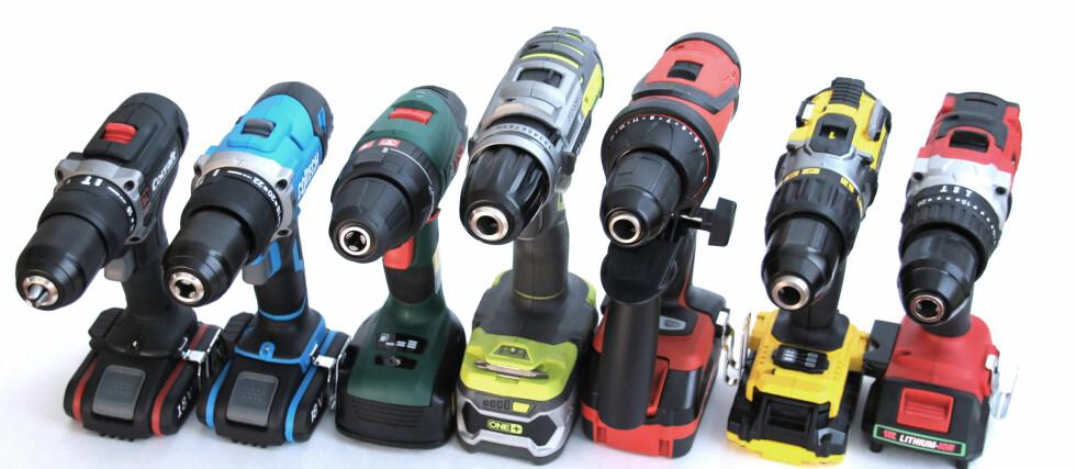 BRA SAKER: Vi testet sju batteridriller som koster under 3.000 kroner. Du får generelt mye for pengene.  Foto: Espen Klem
