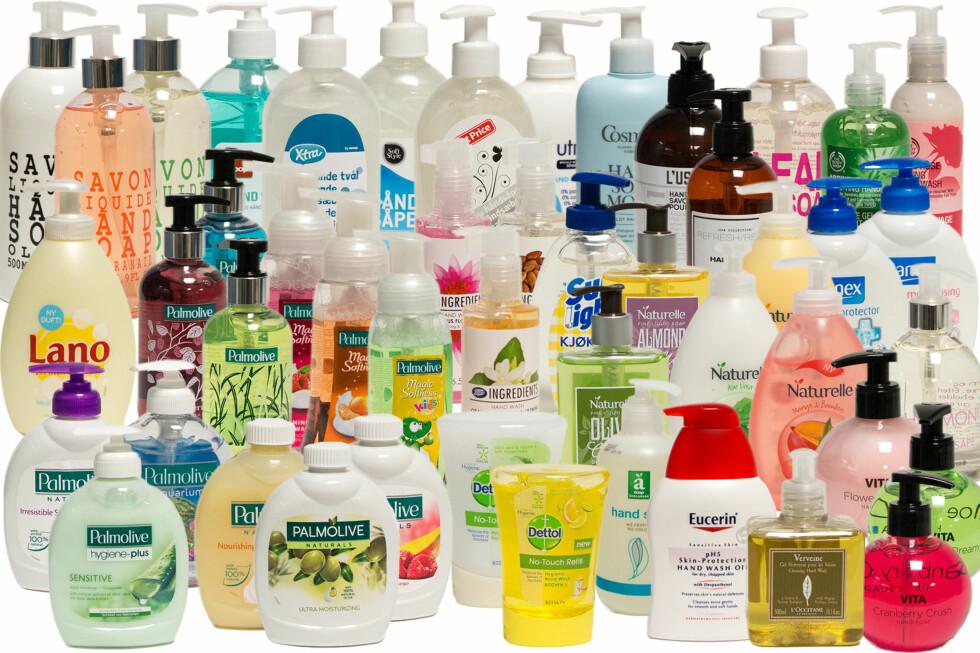 6 AV 10 FÅR STRYK: Forbrukerrådet har testet 48 håndsåper, og over halvparten av såpene inneholder stoffer som kan være problematiske. Foto: FORBRUKERRÅDET