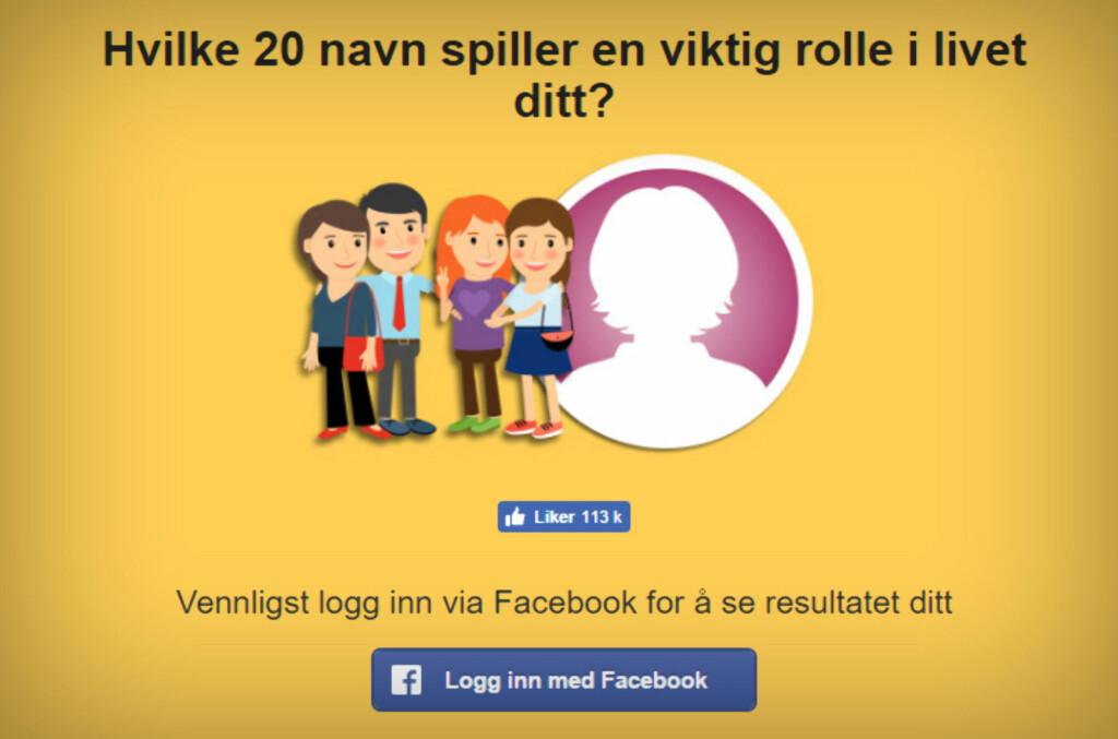 PERSONLIGHETSTEST: Klassisk eksempel på testene man lokkes til på Facebook. Foto: TOM HEINE NÄTT