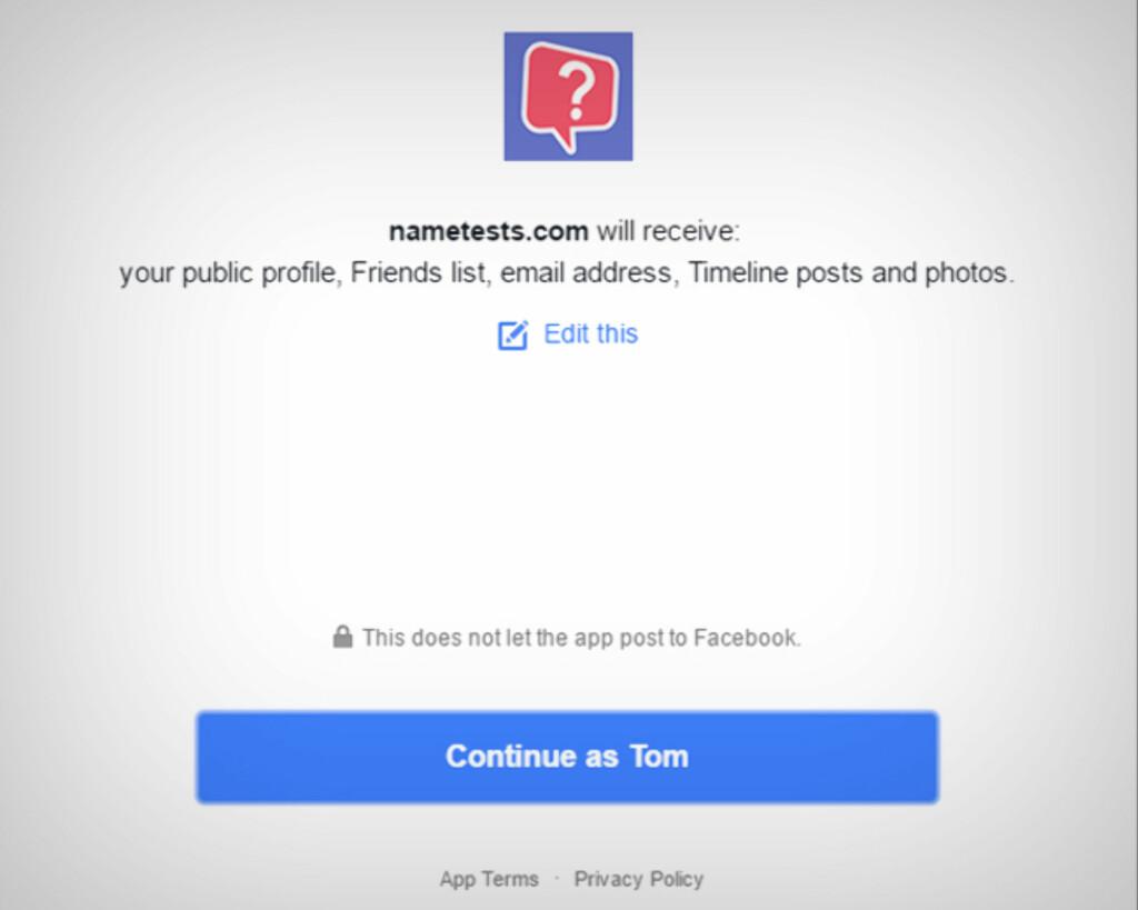 VIL HA TILLATELSER: Personlighetstestene vil ha tilgang til Facebook-kontoen din. Foto: TOM HEINE NÄTT