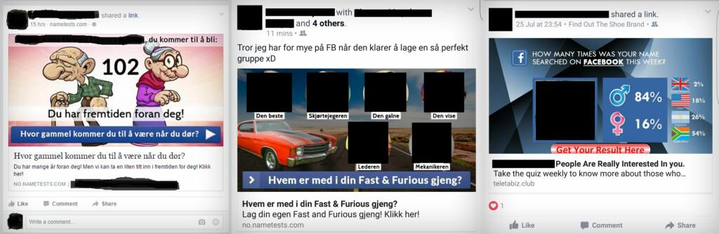 VÆR FORSIKTIG: Det ser kanskje morsomt ut, men personlighetstester på Facebook er en sikkerhetsrisiko. Foto: TOM HEINE NÄTT