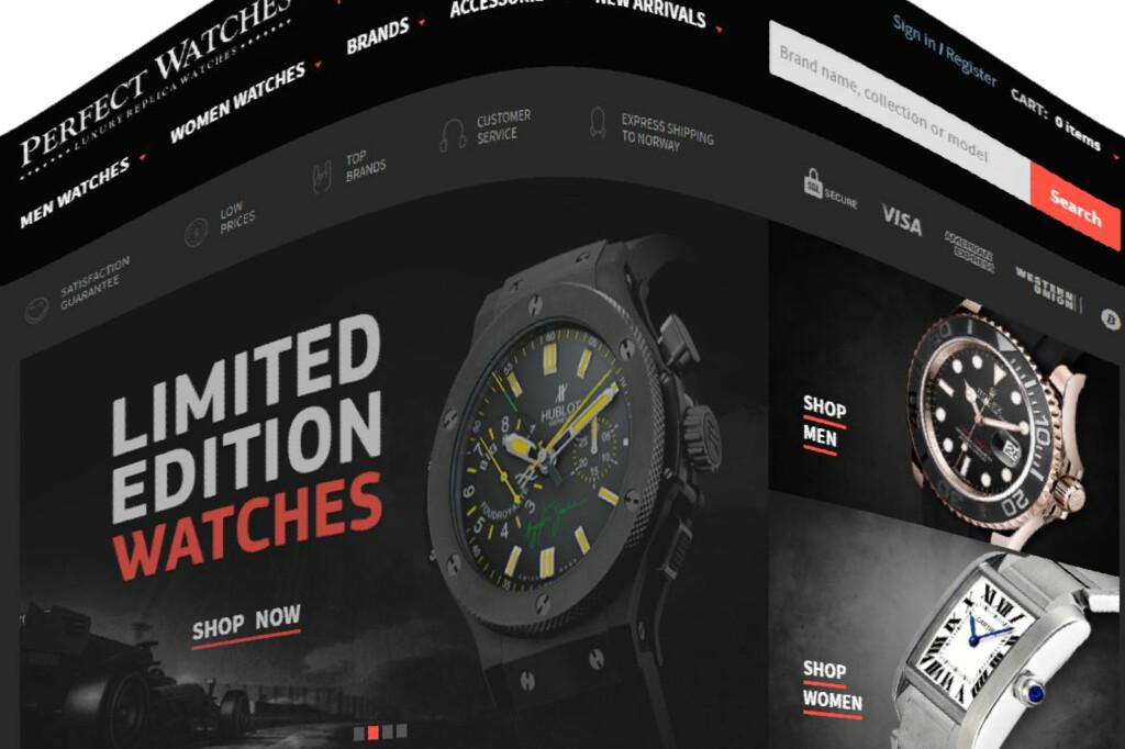 «EKTE FALSK»: Flere nettbutikker tilbyr kopi-klokker som ligner originalene på en prikk. Foto: PERFECT WATCHES
