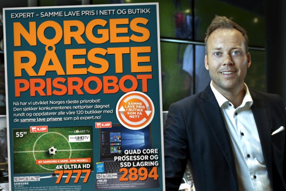 FORKLARER ROBOTEN: Dinside har bedt administrerende direktør Anders Nilsen i Expert forklare oss deres nye «robot». Foto: EXPERT / OLE PETTER BAUGERØD STOKKE
