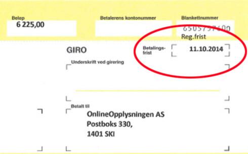 FRIST: Betalingsfristen er en registreringsfrist, uttalte OnlineOpplysningen.no til Dinside i 2015. Foto: ILLUSTRASJON