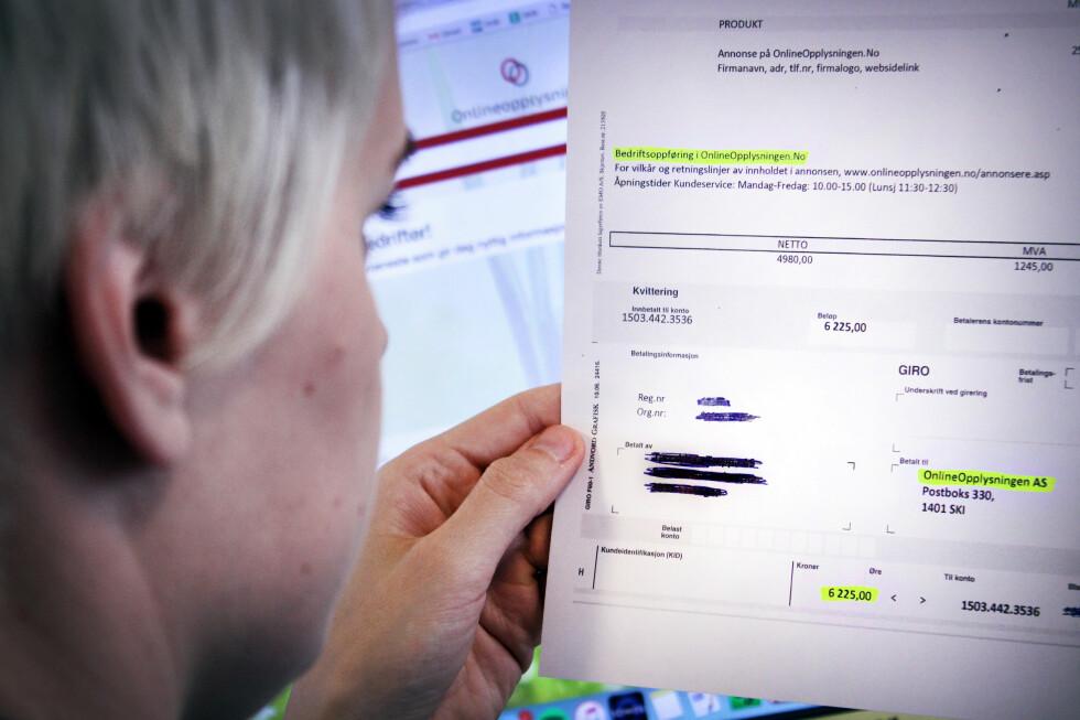 FAKTURA ELLER TILBUD? Selskapet som sender ut OnlineOpplysningen.nos tilbud i fakturaform er under etterforskning.  Foto: OLE PETTER BAUGERØD STOKKE