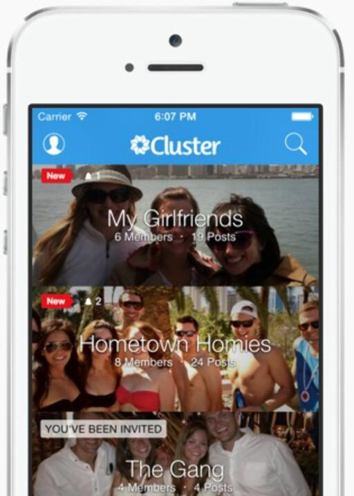 FLERE GJENGER: Med Cluster kan du opprette ulike grupper som du deler bilder med. Foto: CLUSTER