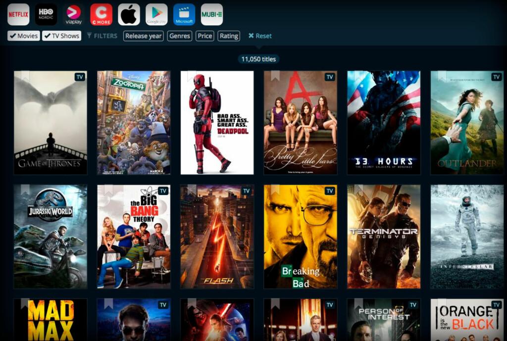 FULL OVERSIKT: JustWatch gir deg oversikt over hvilke aktører som tilbyr ulike filmer og tv-serier. Foto: Justwatch.com