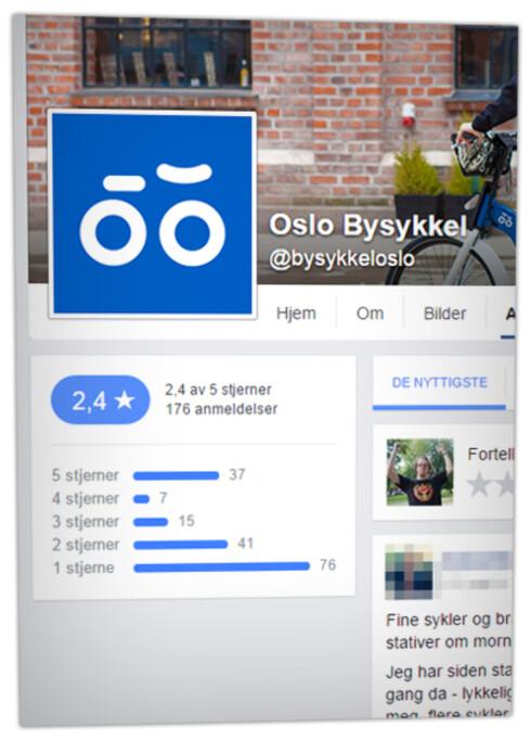 2,4 STJERNER: Anmeldelsene av Oslo Bysykkel på Facebook går ikke i selskapets favør. Her ser du hvordan 76 kunder har gitt absolutt bånnvurdering. Foto: OLE PETTER BAUGERØD STOKKE