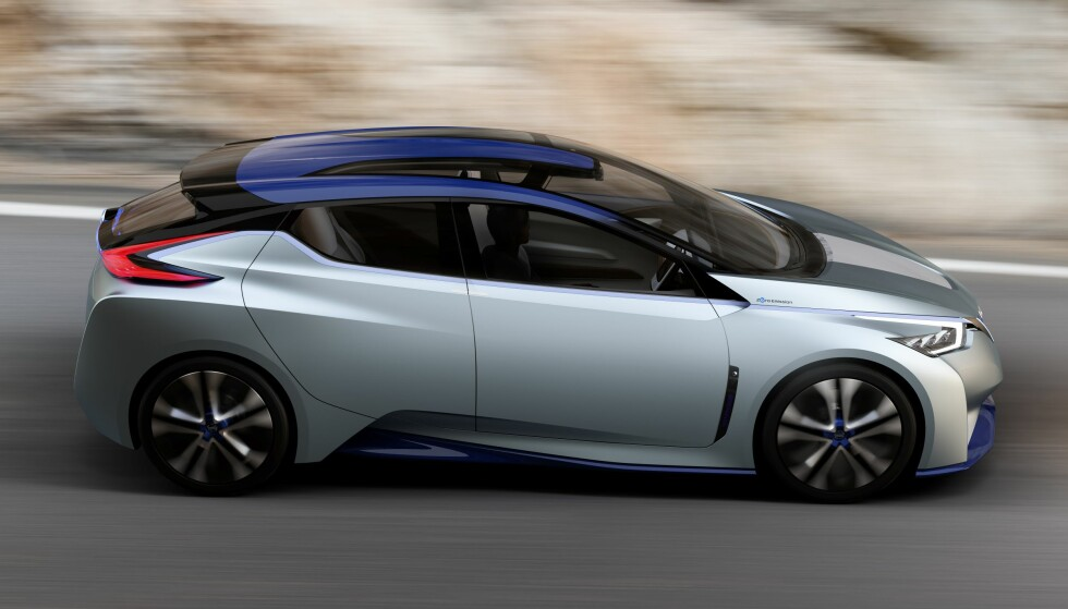 KOMMER: Nissan IDS Concept ble vist i Genève allerede i fjor. Nissans nye elbil kommer til å bære tydelige preg av konseptet - med betydelig lengre rekkevidde.