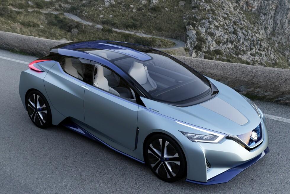 NESTE GENERASJON LEAF? Vel, akkurat som dette blir den nok ikke, men vi tror Nissan hinter om en god del elementer som vil gå igjen på neste generasjon Leaf med denne el-konseptbilen ved navn Nissan IDS Concept, som ble vist i Genève tidligere i år. Foto: NISSAN