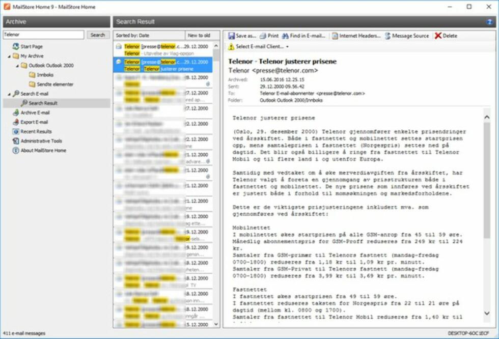 GODT SYNLIG: Søkeord utheves med gult i søkeresultatene. Det øvrige grensesnittet er typisk for e-postprogrammer. Foto: BJØRN EIRIK LOFTÅS